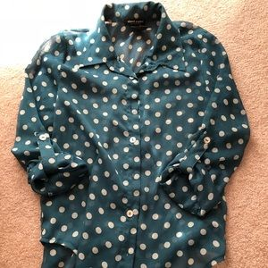 Sheer teal with cream dots blouse